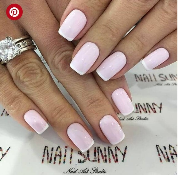 Baby Pink Polish with Gel French Manicure