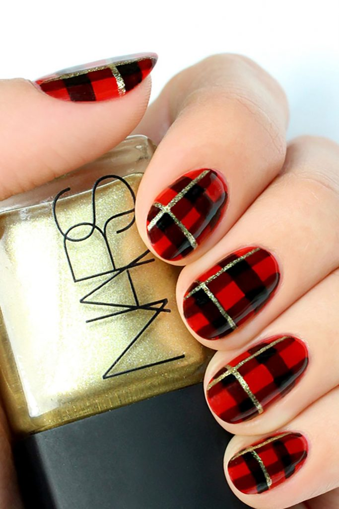 Black and Red Plaid Nail Art