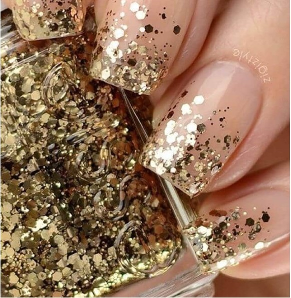 French Nails with Gold Glitter Glam