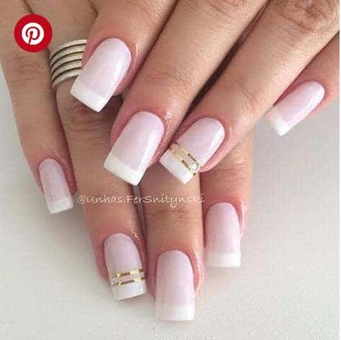 French Tip Manicure and Golden Stripes
