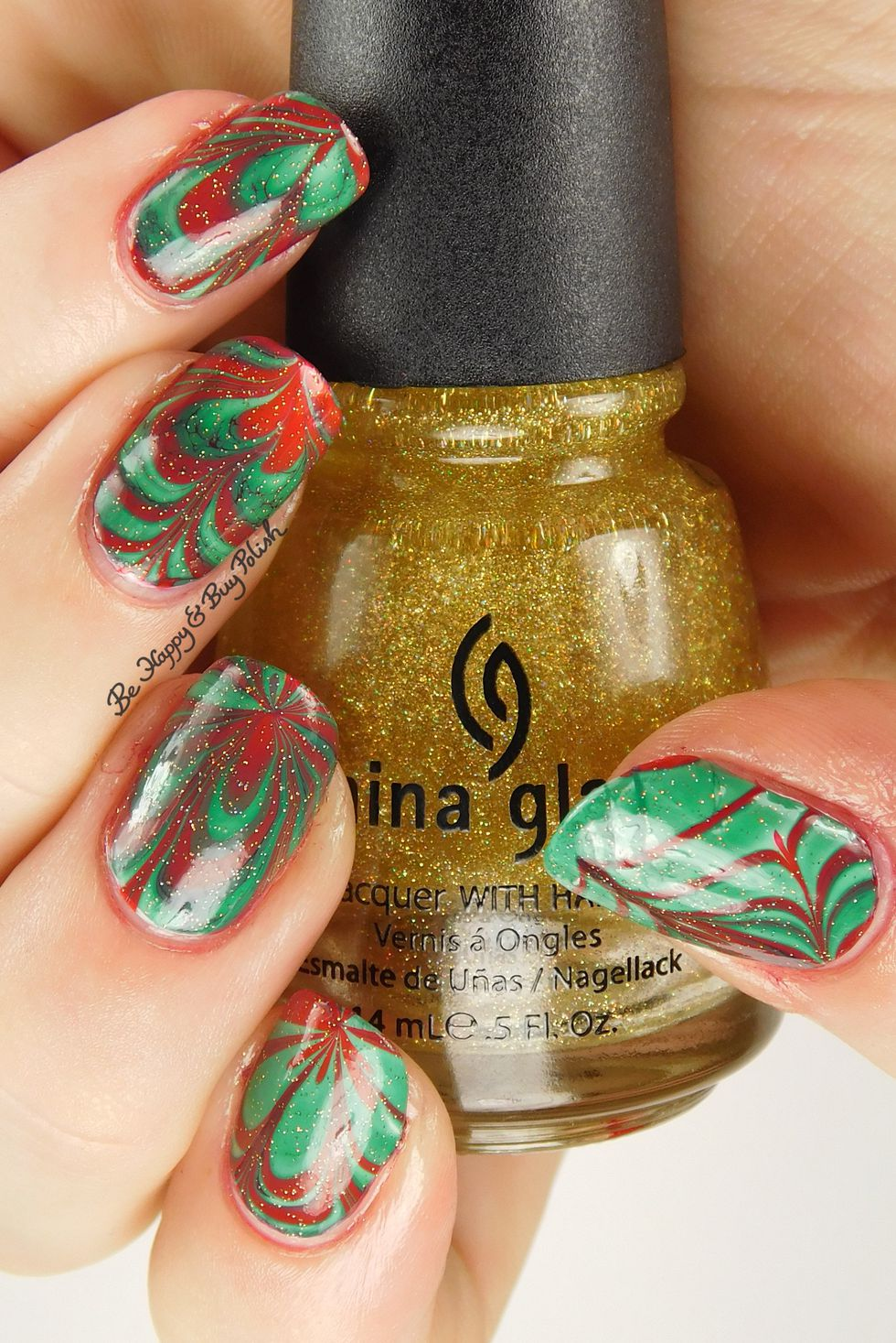 Green and Red Marbled Nail Art