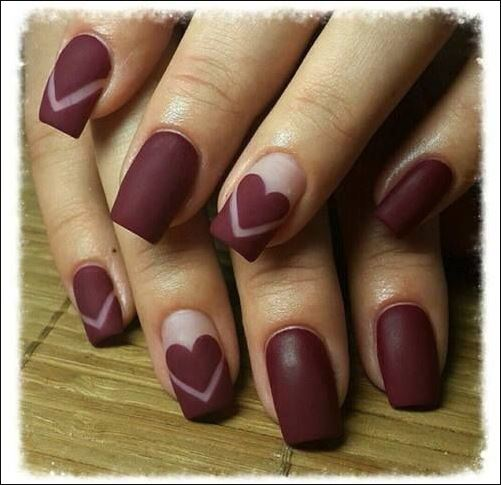 Muted Red Nail Design