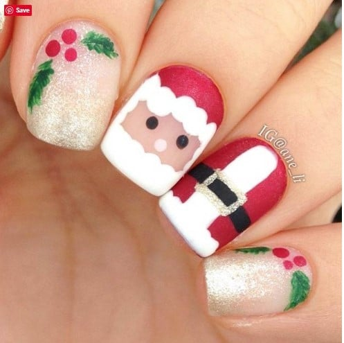 Santa-Themed Nails