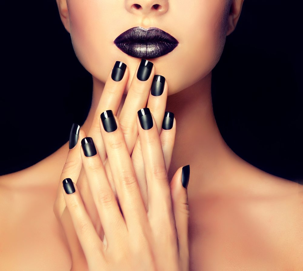 Women With Black Lipstick and black nails
