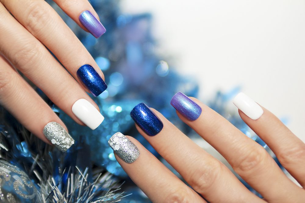 Blue and White Nails with Glitter
