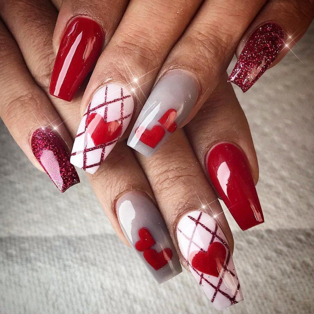 Glistening Red for Valentines' Nails