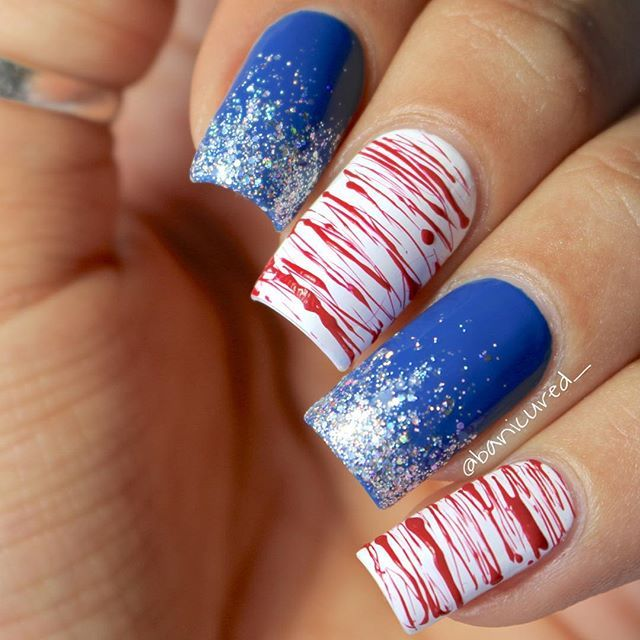 4th of July Nails square