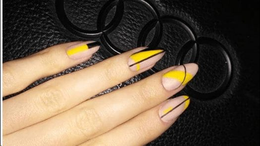 Black and Yellow Almond Nails