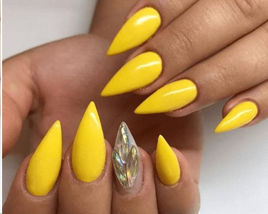 Yellow Peacock Stiletto Nails