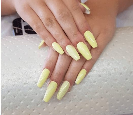 Pale Yellow Ballerina Nails