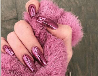 Pink Chrome French Manicure