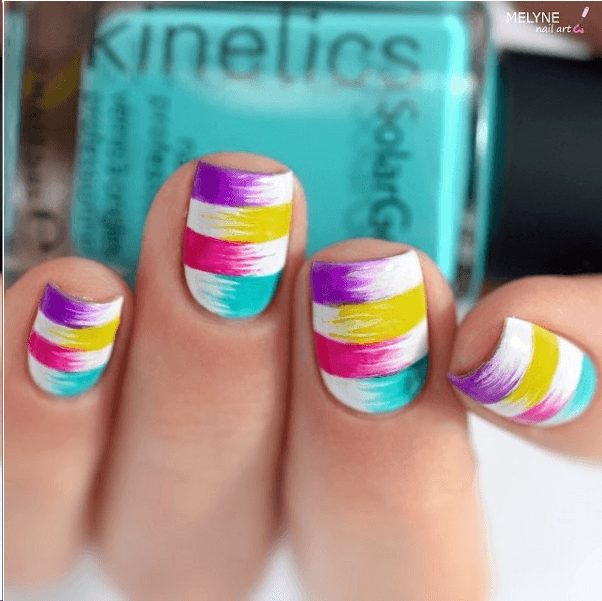 Multicolored Hue short square nails