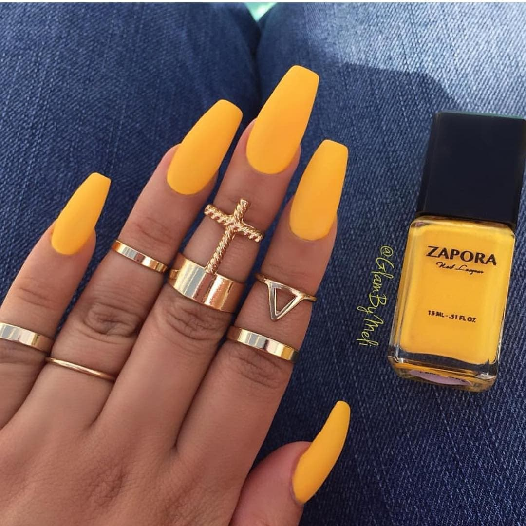 Matte Yellow Nails