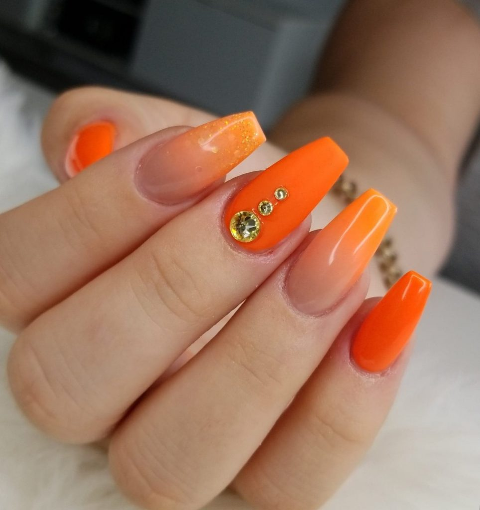 orange nail art, baby boomers