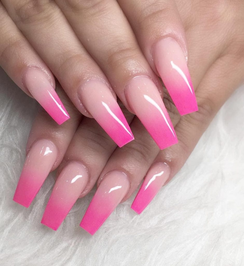 Pink French Ombré Nails