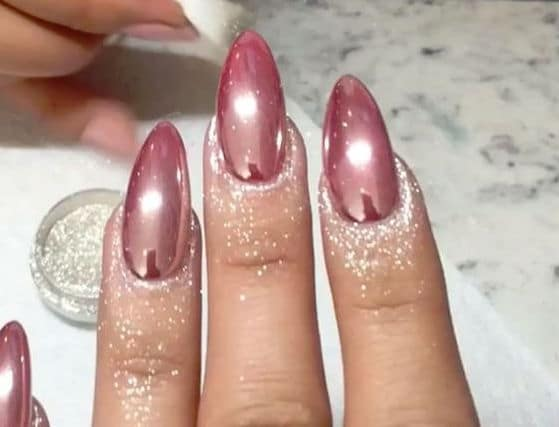 Rose Gold Shimmer nails
