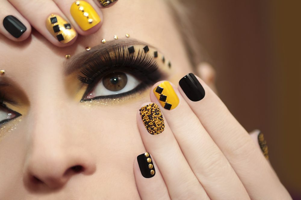 Black and Yellow Nails
