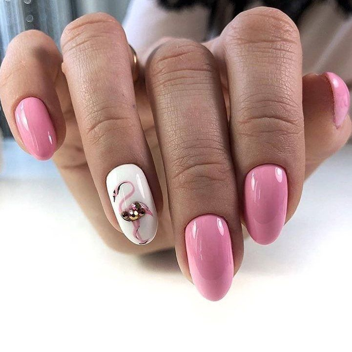 Pink Flamingo Nail Art Design