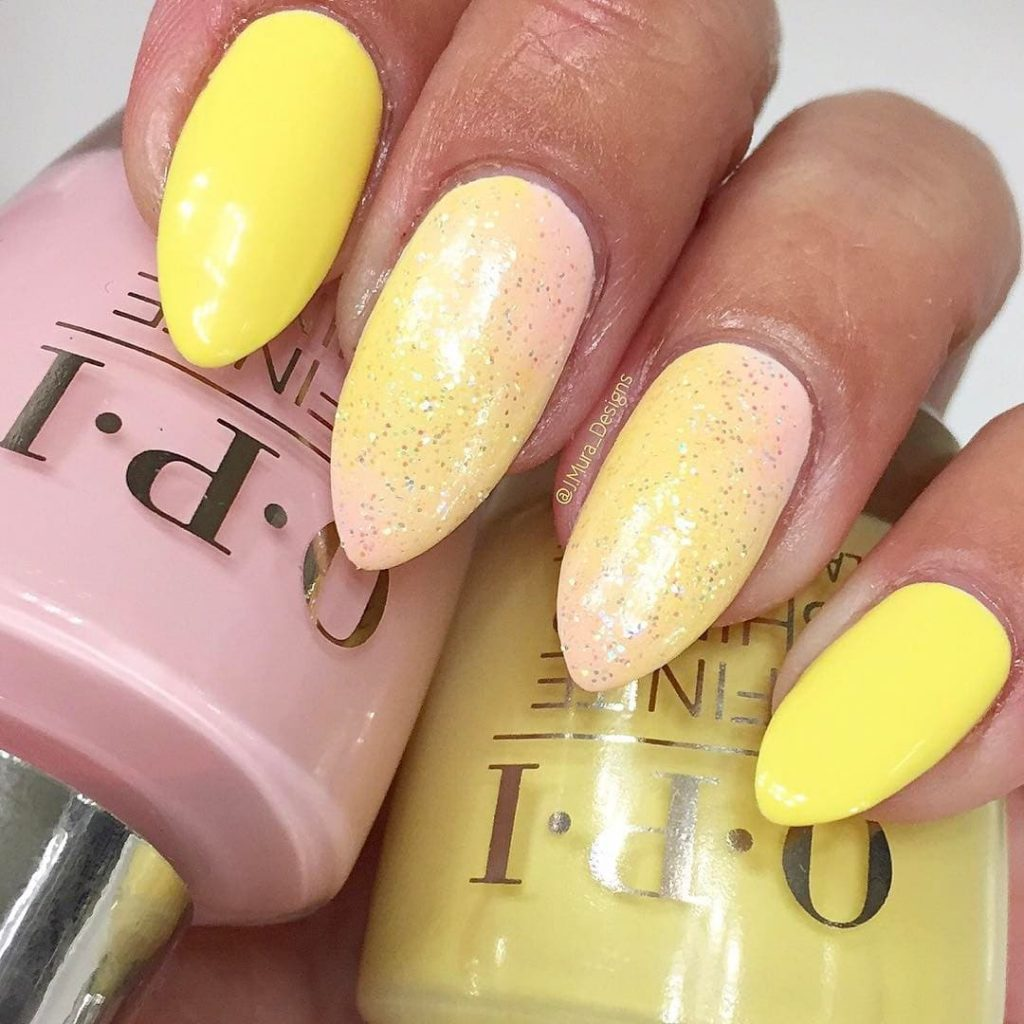 Pink and Yellow Ombre Stiletto Nails
