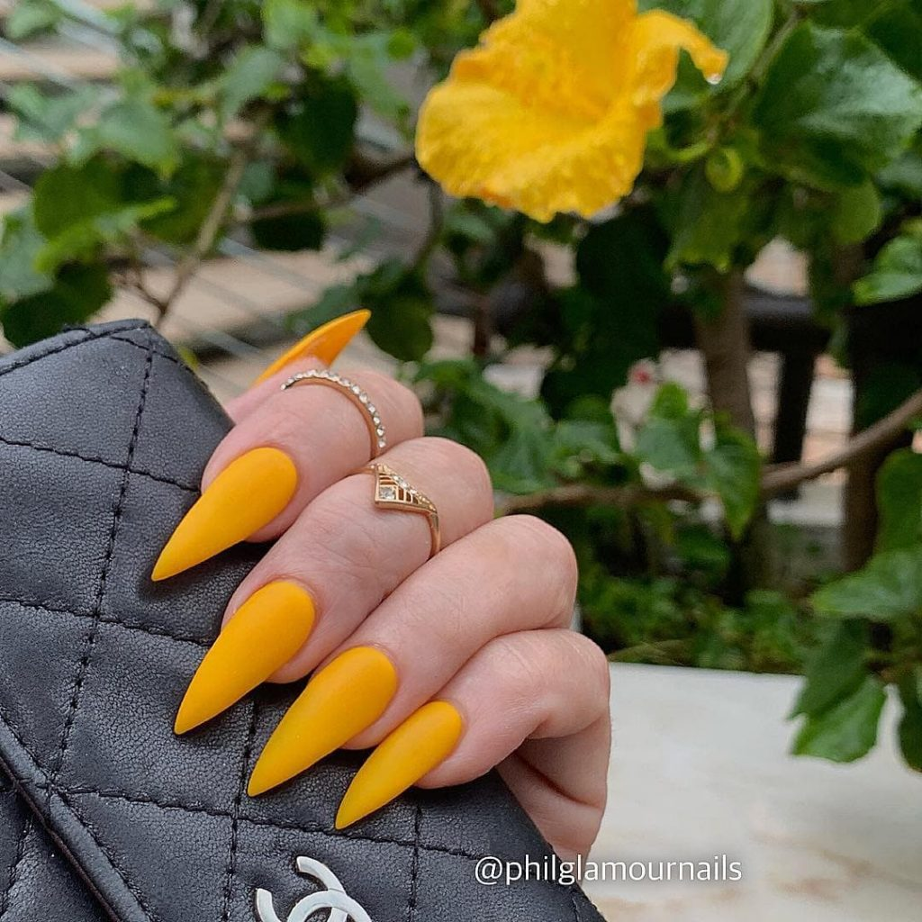 Bohemian Yellow Acrylics Nails