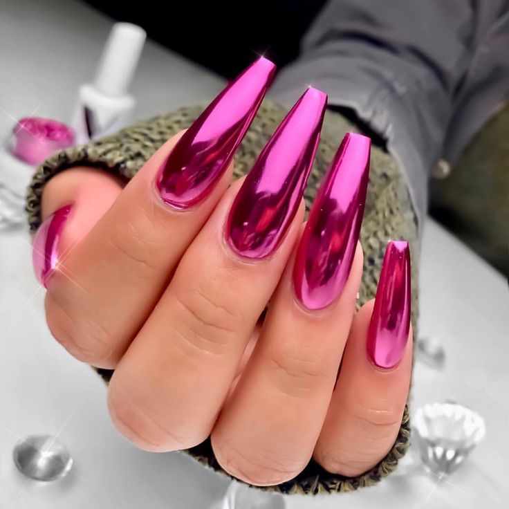 Pink Chrome Nails 2019