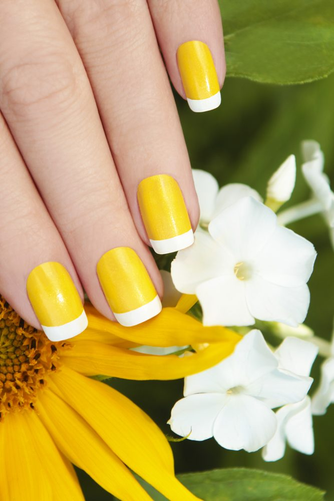 french yellow nails