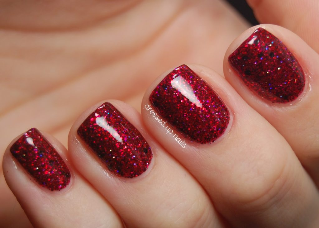 Short Red Gel Manicure Design
