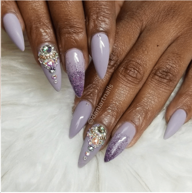 Purple, stones, nail art 2019