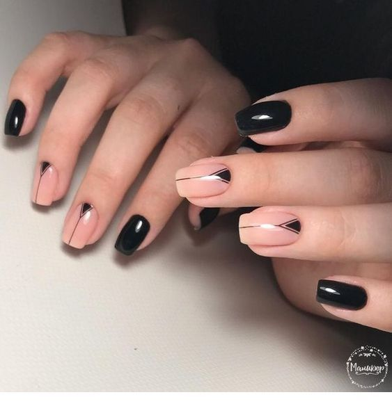 nude and black square nails