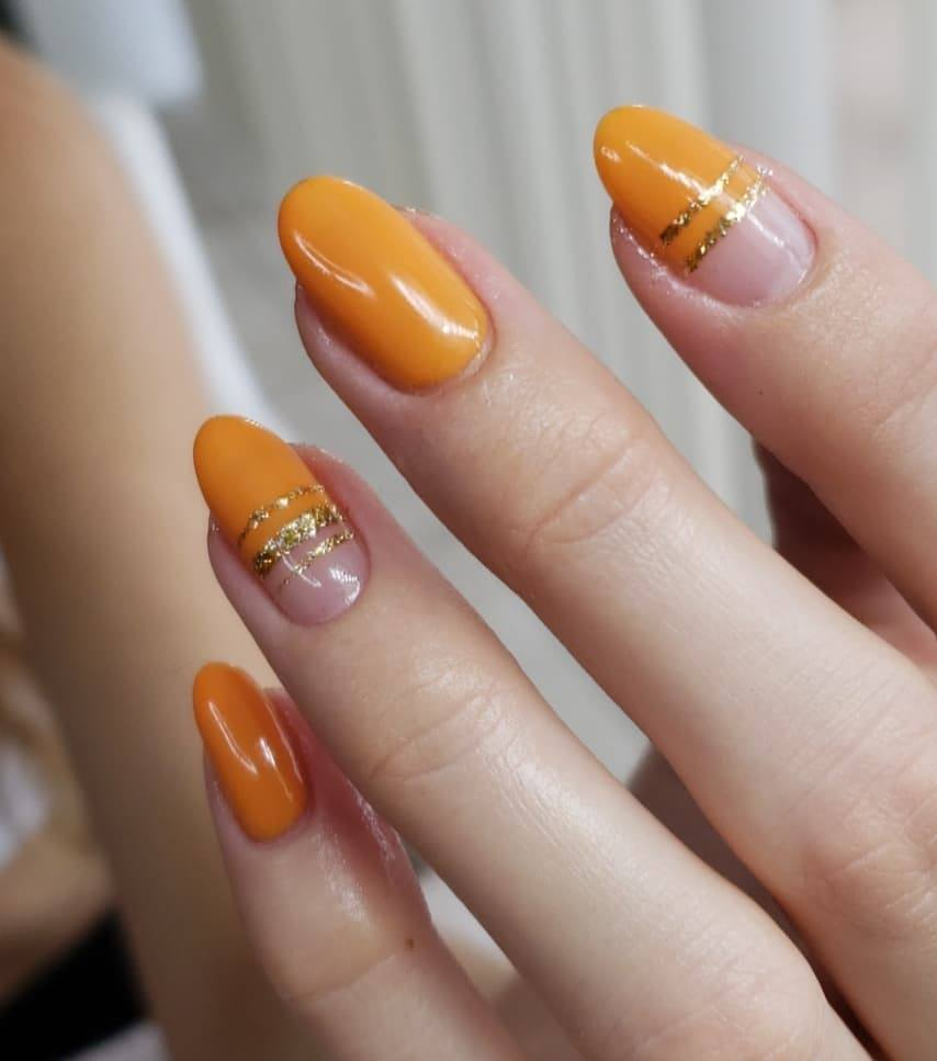 yellow gel nail manicure