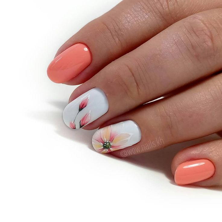 Orange Flower Nail Art Design
