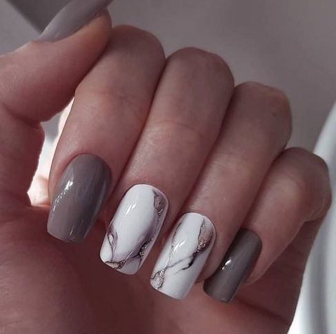 square Marble Nails