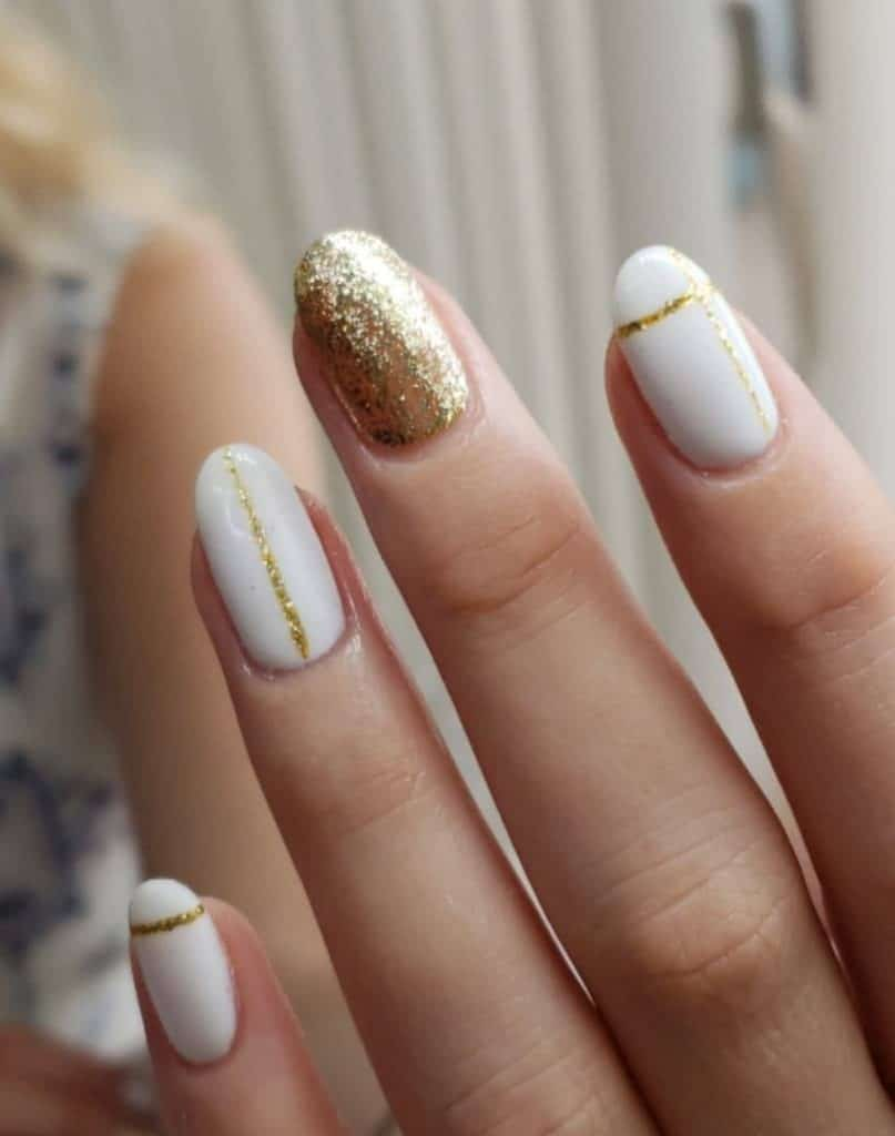 white and gold gel nail designs
