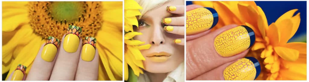 yellow acrylic nails sunflower