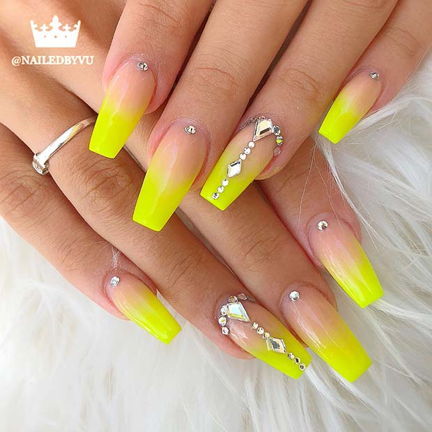 yellow acrylic nails and stones