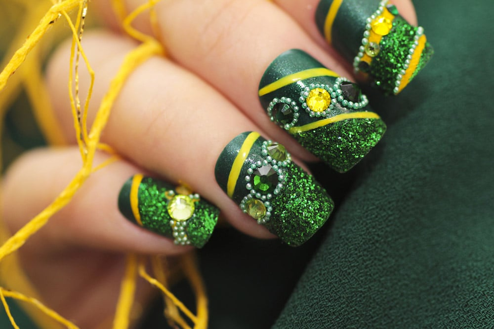 Brazilian square Acrylic nails design decorated with stones