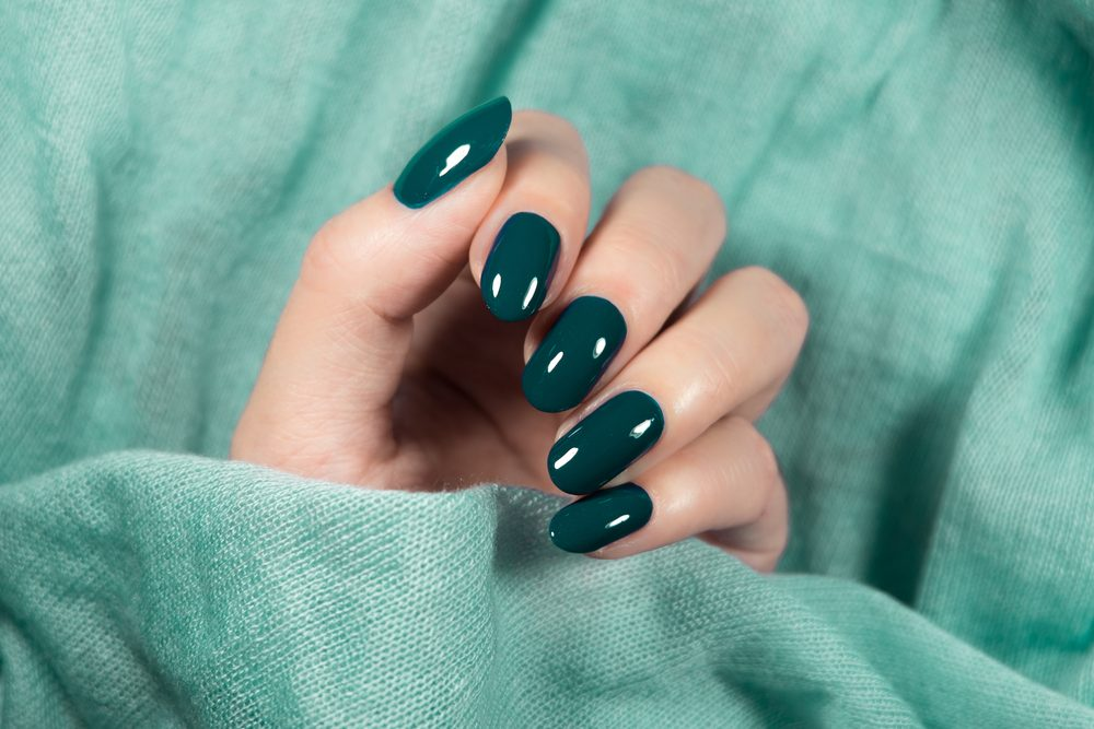 Green Round Acrylic Nails