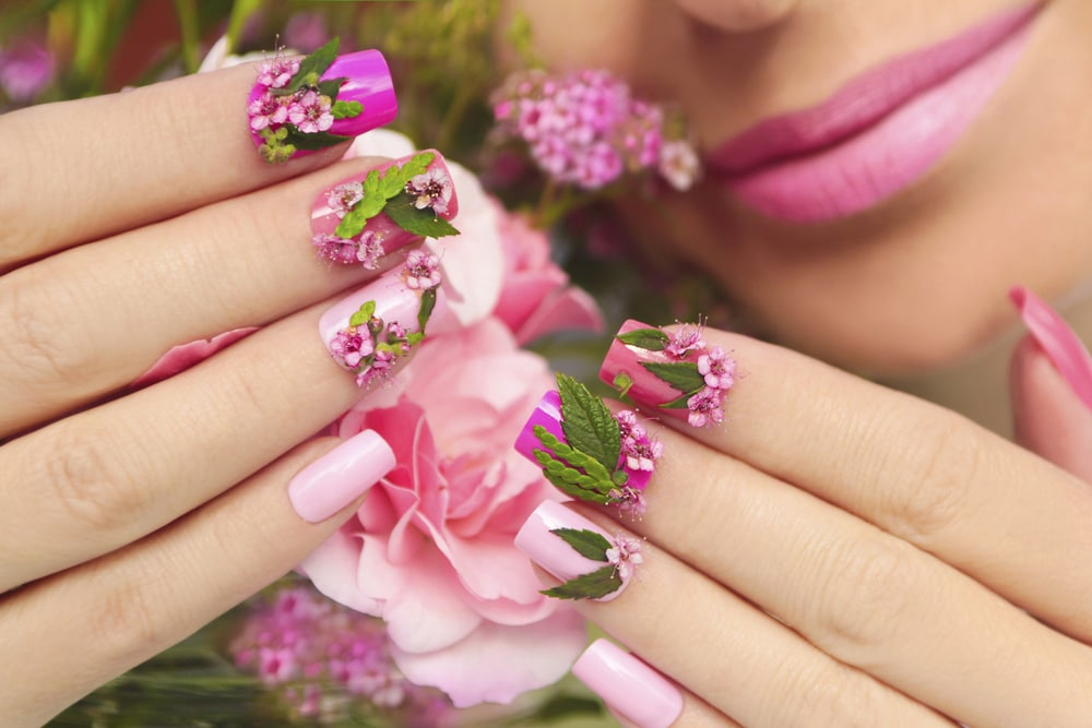 Oval rectangular nails flower design