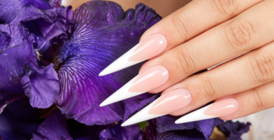 Stiletto acrylic nails purple