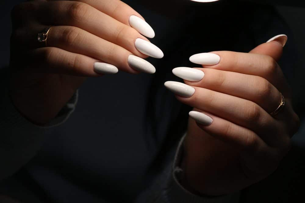White Almond Acrylic Nails