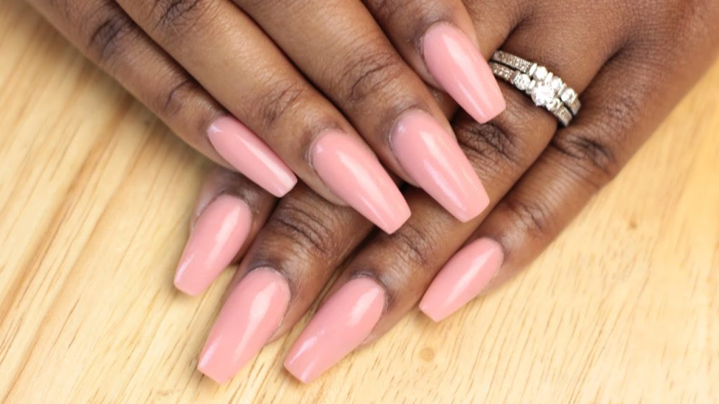 Pink Coffin Acrylic Nails