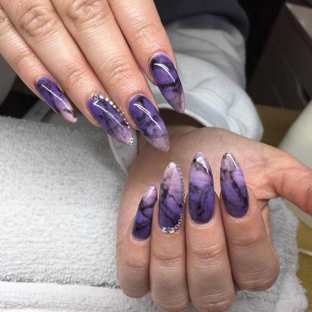 purple marble nail design 2019
