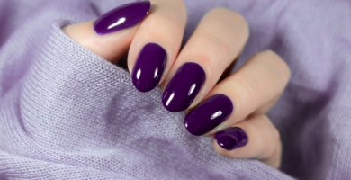 purple round acrylic nails 2019