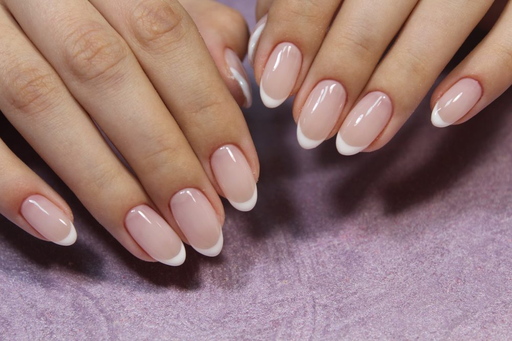 sexy French manicure on Acrylic almond nails