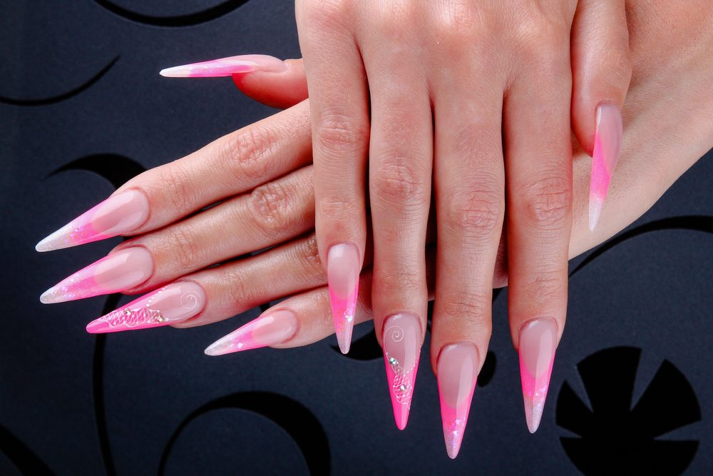 stiletto acrylic nails Pink