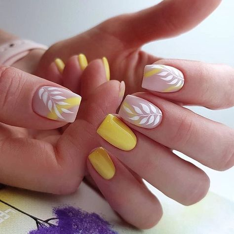 yellow gel nails